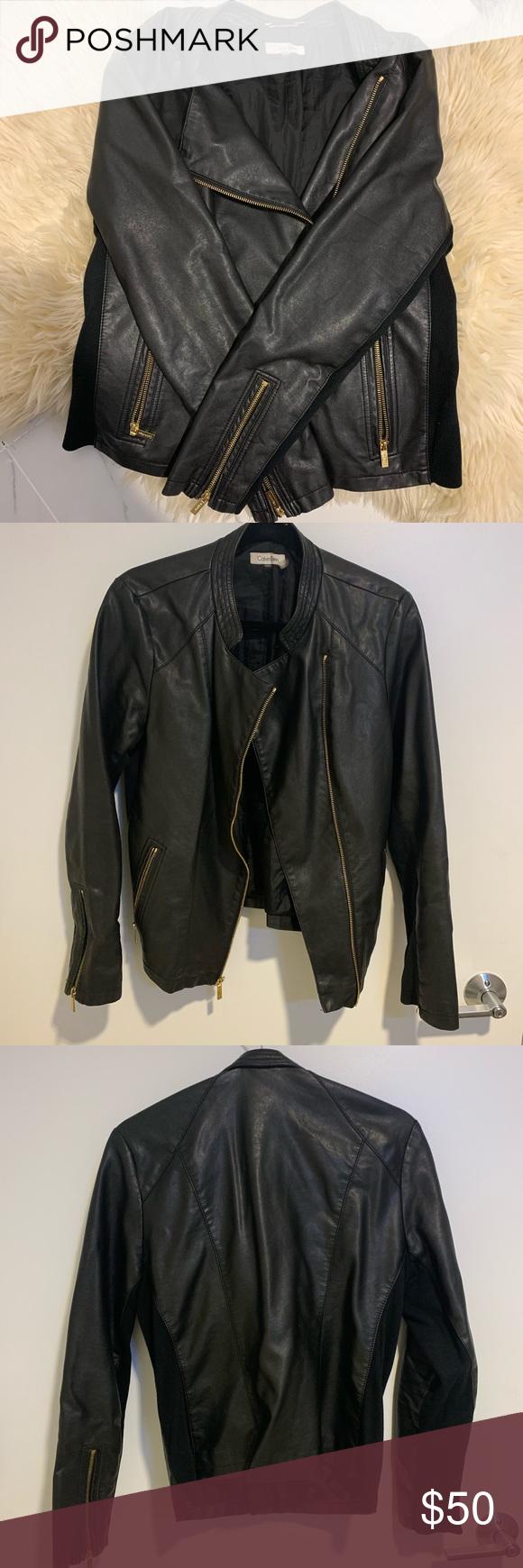 Calvin Klein Black Leather Jacket Calvin Klein Black