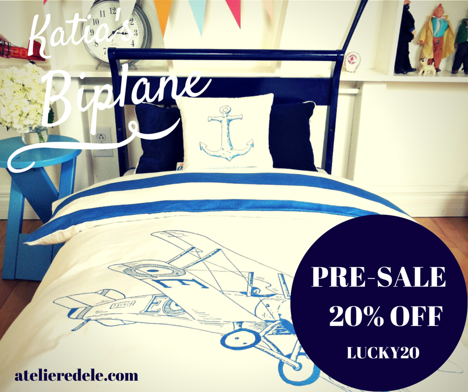 New edition of Katia's Biplane: 100% sateen organic cotton #baby crib bedding set, 300 thread count, with duvet. Get 20% OFF with code LUCKY20 Free shipping!