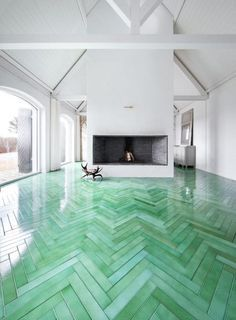 UNIQUE: Floor tiles that resemble hardwood flooring in a herringbone  pattern, handcrafted from green