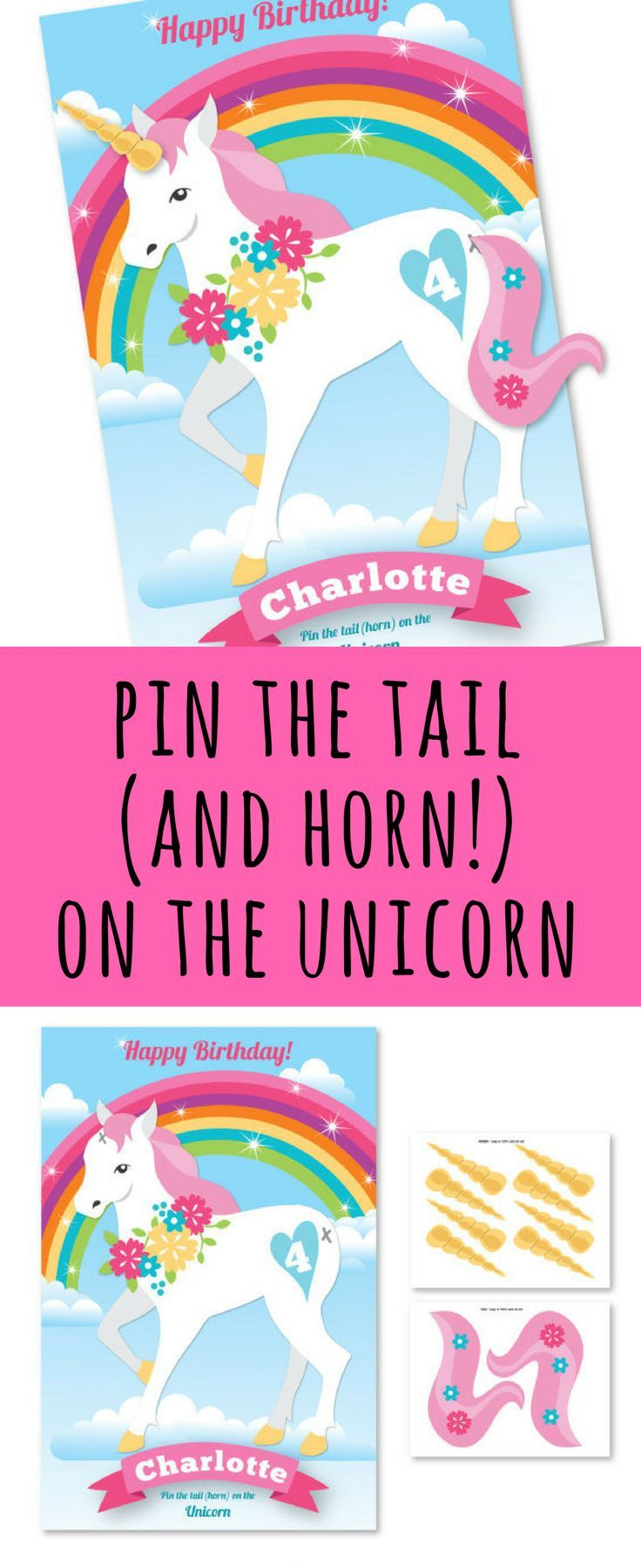 pin the tail and horn on the unicorn party game, easy and