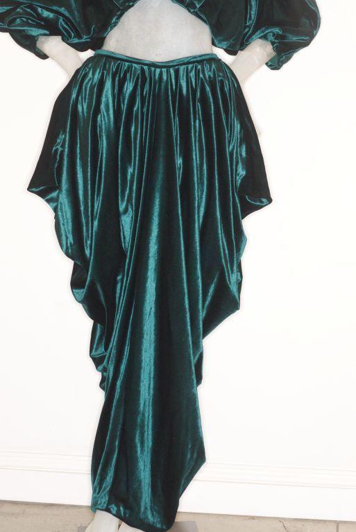 1970s Emerald Green Velvet Norma Kamali Ensemble