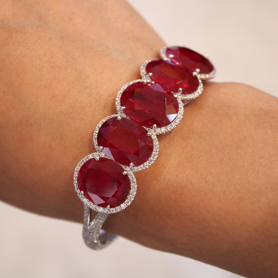 Angara Ruby and Diamond Tennis Bracelet - July Birthstone Bracelet