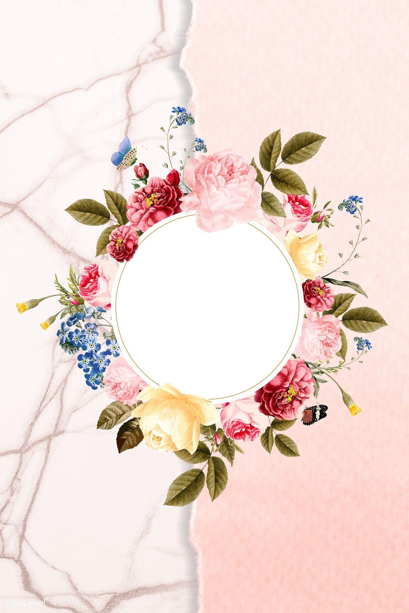 Download Premium Illustration Of Floral Round Frame On A Marble Background Flower Illustration Flower Phone Wallpaper Marble Background