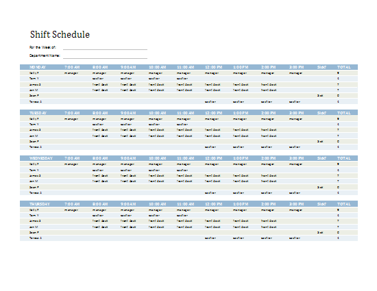 Employee Shift Schedule | Templates I Love | Pinterest | Microsoft ...
