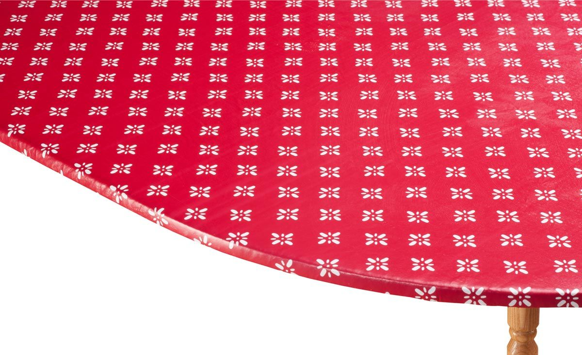 Heritage Vinyl Elastic Table Cover with Fleece Backing in