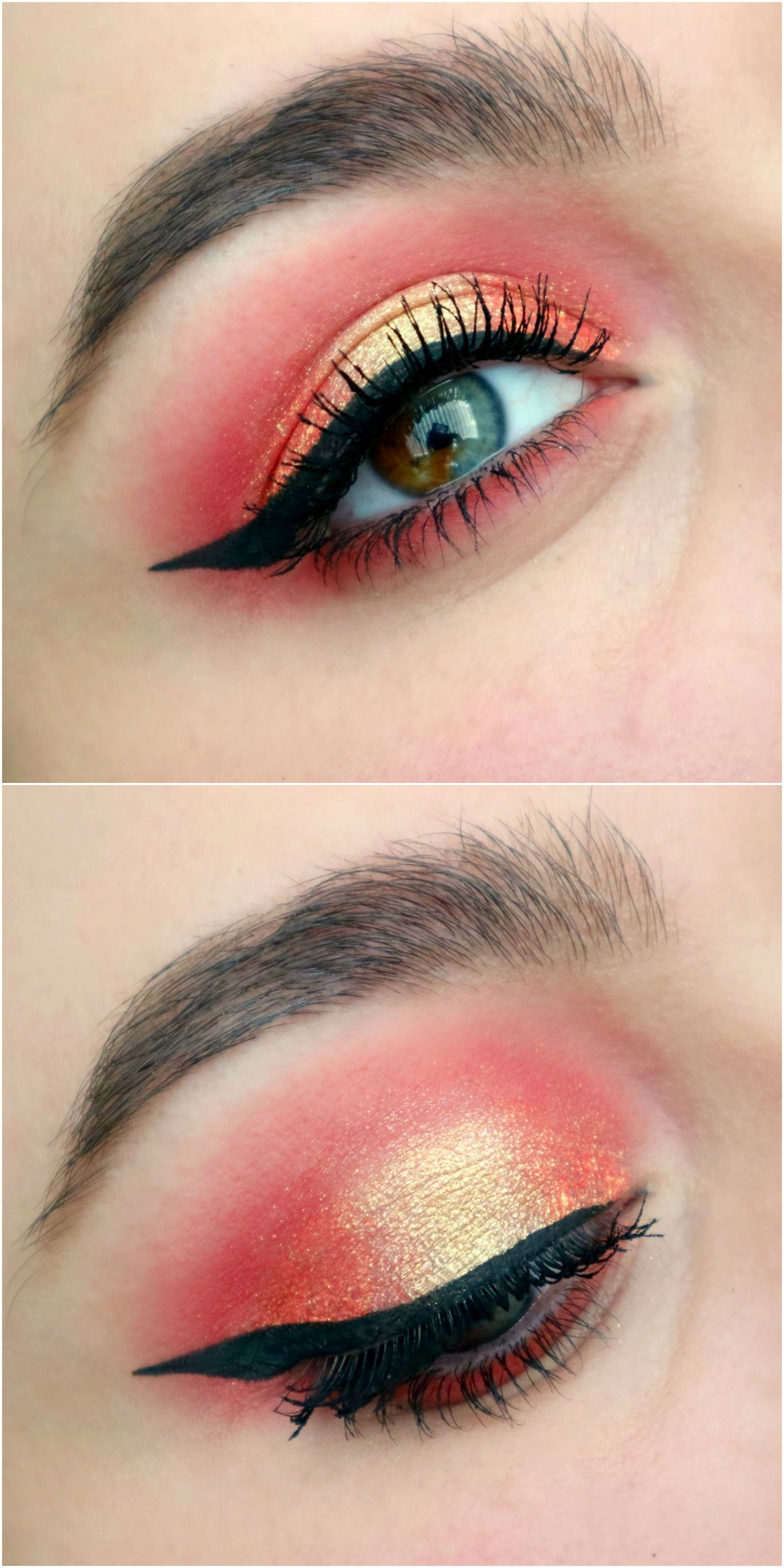 790dd4f3c30 A combination of The Ram and The Lion from KathleenLights x ColourPop's  Zodiac loose pigments. A coral and gold semi-cut crease look from my blog  post