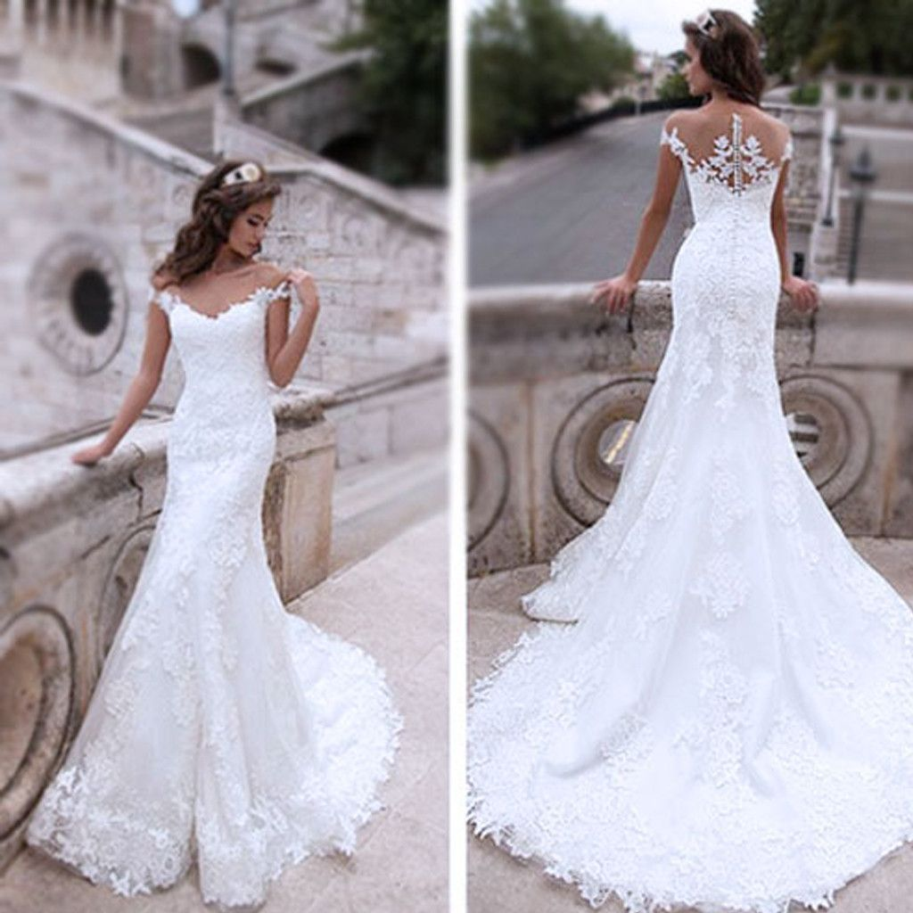 Off the shoulder lace mermaid wedding dress  Charming Off Shoulder Sexy Mermaid White Lace Bridal Gown Wedding