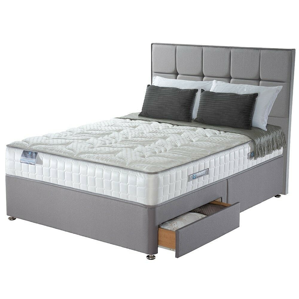 Grey Suede Divan Bed Base 4ft6 Double Divan Bed Super King