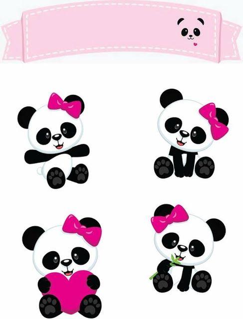 Osita Panda Con Corazones Toppers Para Tartas Tortas Pasteles Bizcochos O Cakes Para Imprimir Gratis Decoraciones De Panda Fiesta De Panda Y Panda Cumpleanos