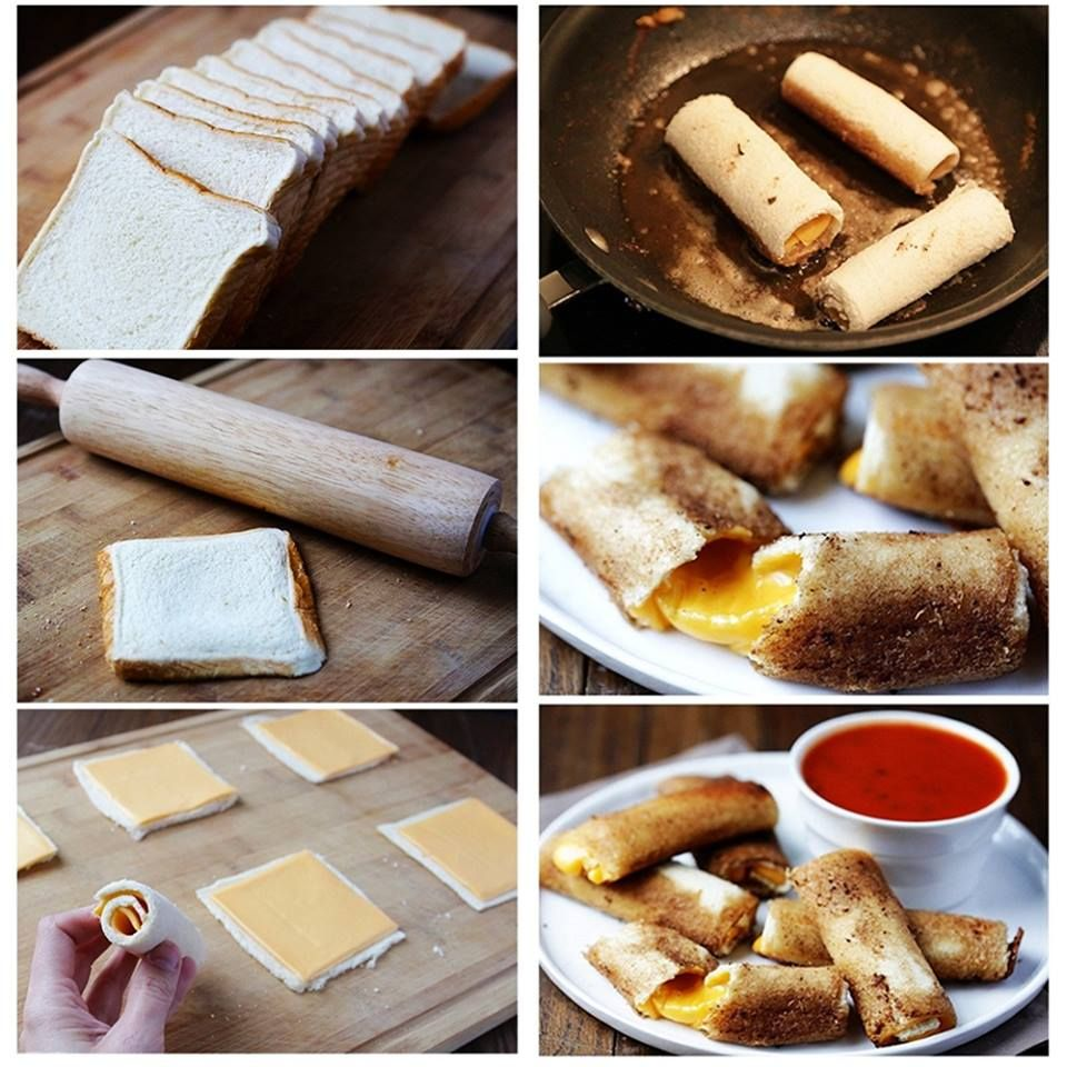 """Disfruta de una manera distinta los """"cheese sticks"""", con pan de rueda rellenos de queso y luego pasados por el sartén. Los puedes acompañar perfectamente de salsa marinar. (Vía el Chef Luigi)"""