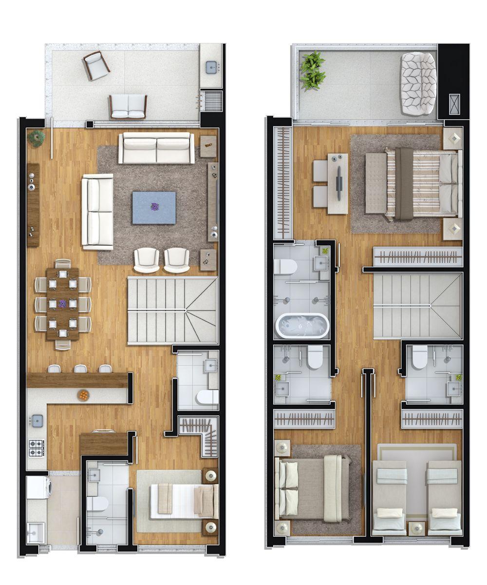Planta tipo 1 3 suites 1 dorm plantas e decora o - Planos casas dos plantas ...