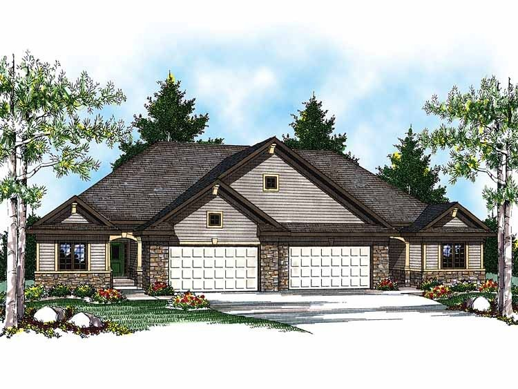 Eplans ranch house plan duplex with economical floor for Economical ranch house plans