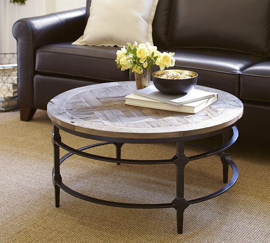 Reclaimed Wood Industrial Round Coffee Table: Parquet Reclaimed Wood Round Coffee Table In 2019