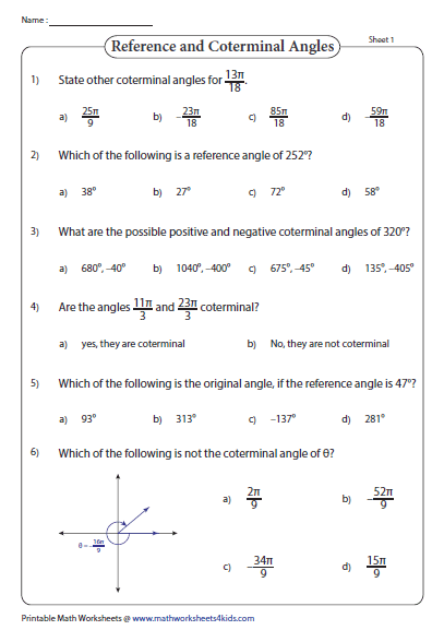 Multiple Response Angles Worksheet Trigonometry Worksheets Teaching Geometry