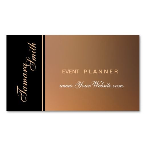 Black, Brown And Rosegold Event Planner Business Card Zazzle