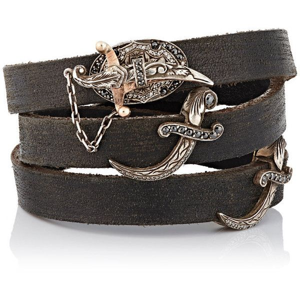 Sevan Biçakçi Leather Wrap Bracelet With Diamond-Embellished Dagger Cl (£9,920) ❤ liked on Polyvore featuring jewelry, bracelets, colorless, handcrafted jewelry, 24k jewelry, diamond bangle, diamond jewellery and black and white diamond jewelry