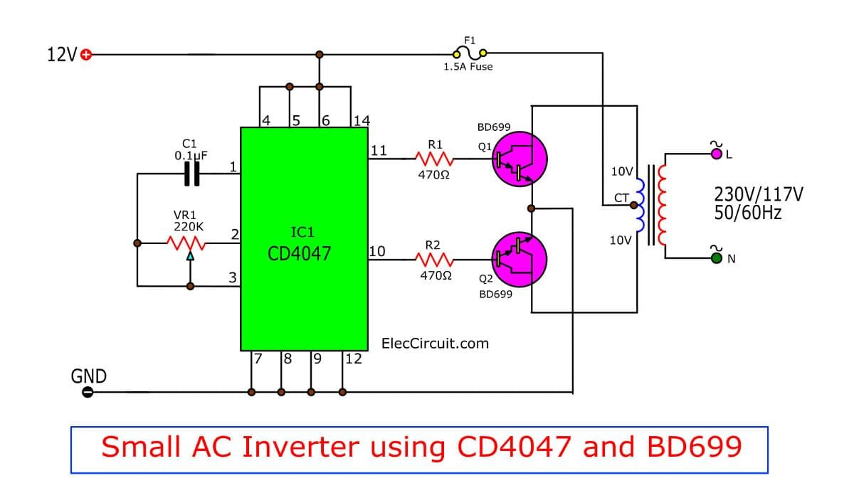 Four Cd4047 Inverter Circuit 60w 100w 12vdc To 220vac With Images