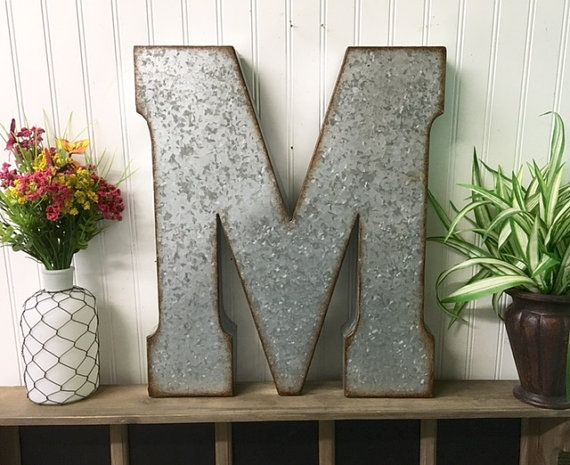 Large Metal Letter 20 Inch Wall Decor M Galvanized Shabby Chic Boho Country Farmhouse