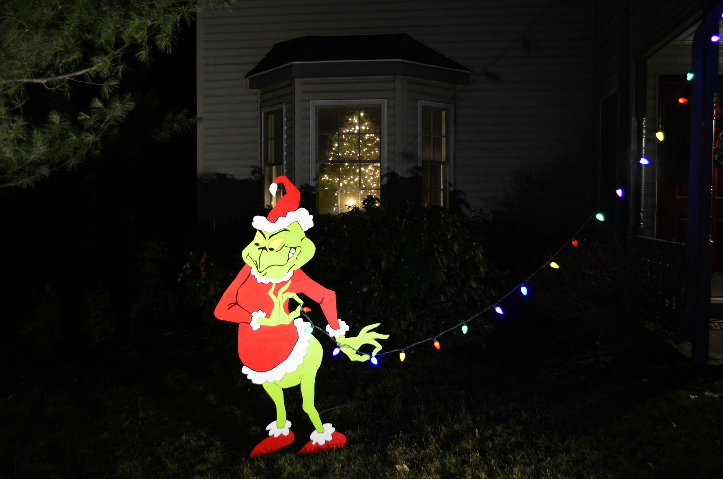 Grinch Grinch Decorations Grinch Stealing Lights Christmas Lights