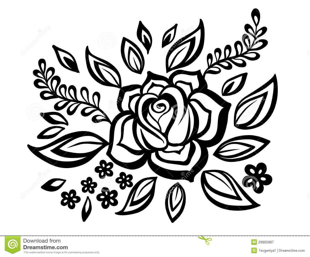 Blackandwhite flowers and leaves design element with
