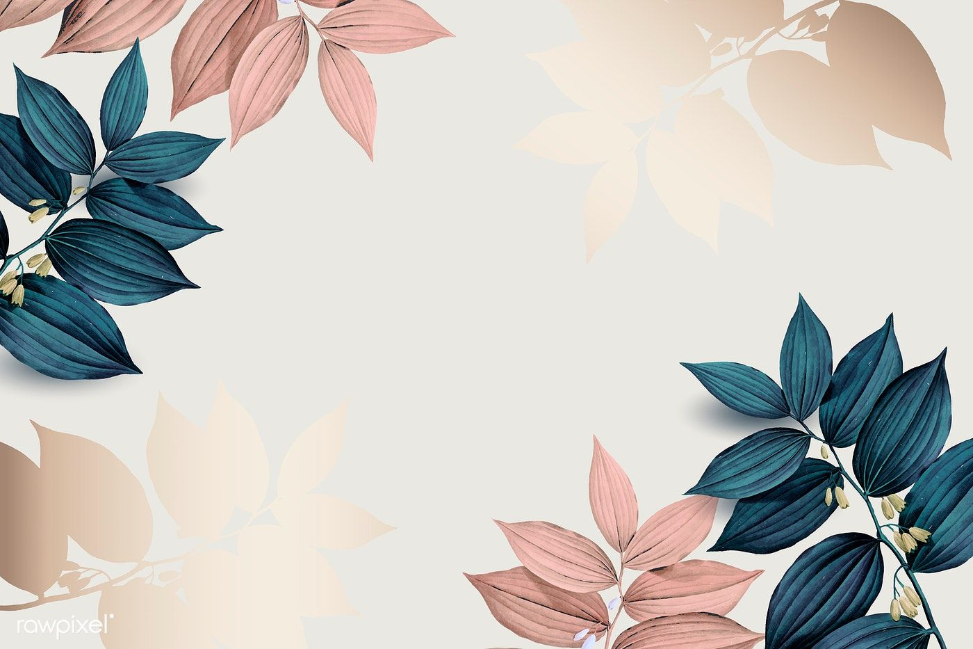 Download premium vector of Pink and blue leaf pattern