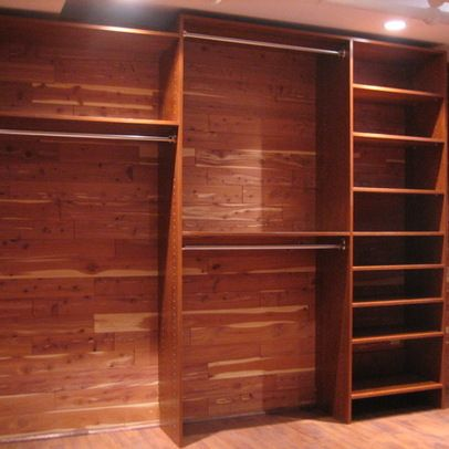 Walk In Closet Brick And Cedar Basement With Flush Ceiling Light