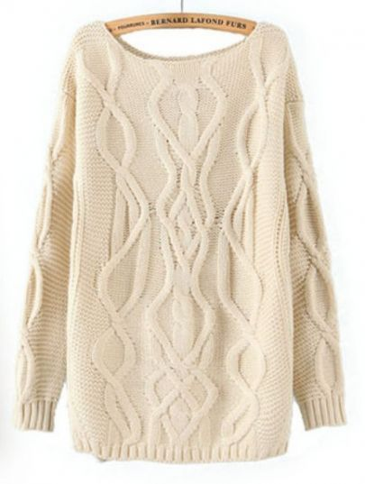 Beige Long Sleeve Cable Knit Pullover Sweater pictures | Thisnthat ...