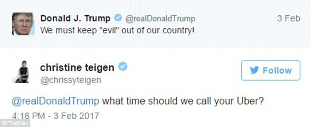 Chrissy Teigen reacts to Trump's 'we need to keep evil out' tweet ...