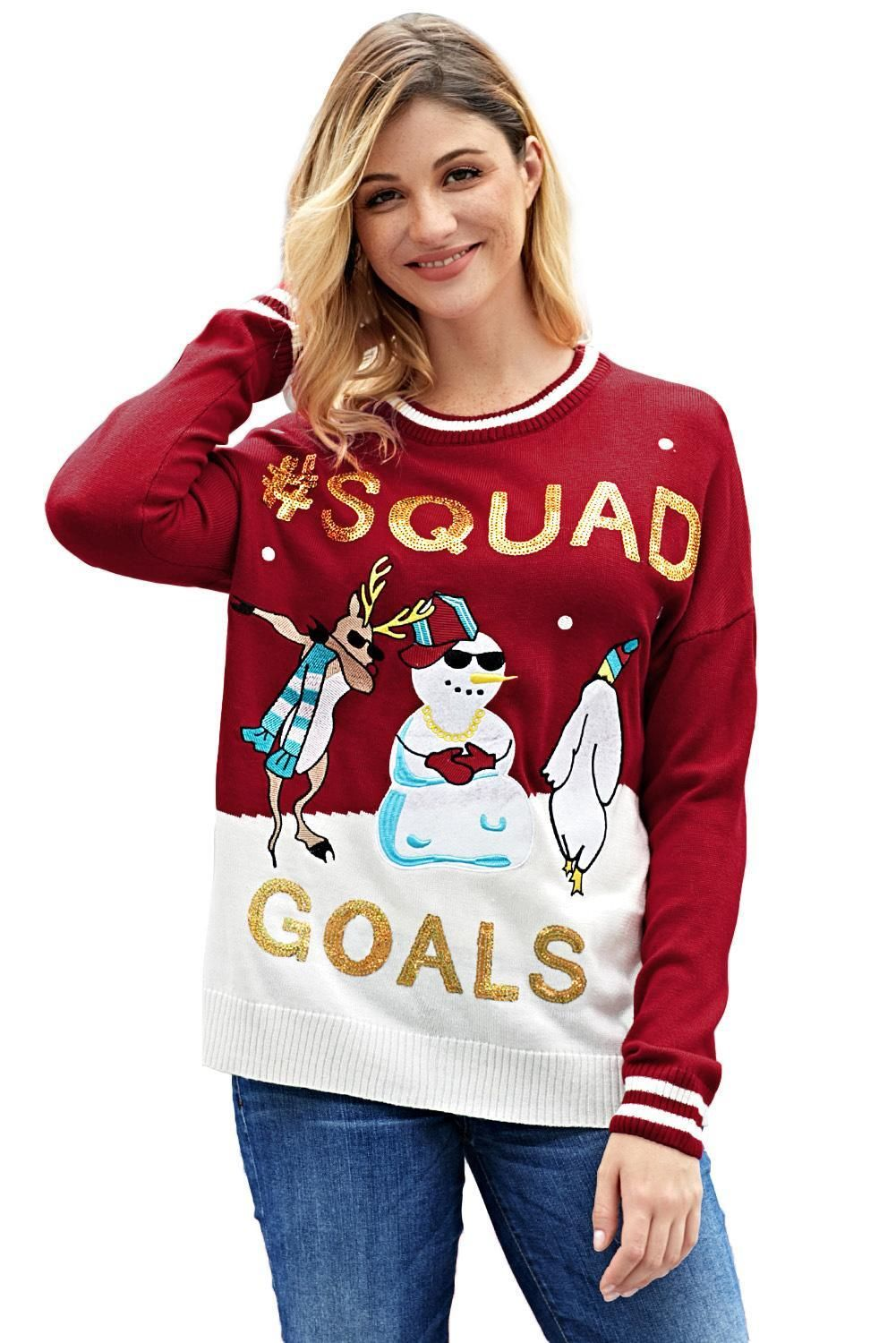 Red SQUAD GOALS Christmas Snowman Sweater Christmas