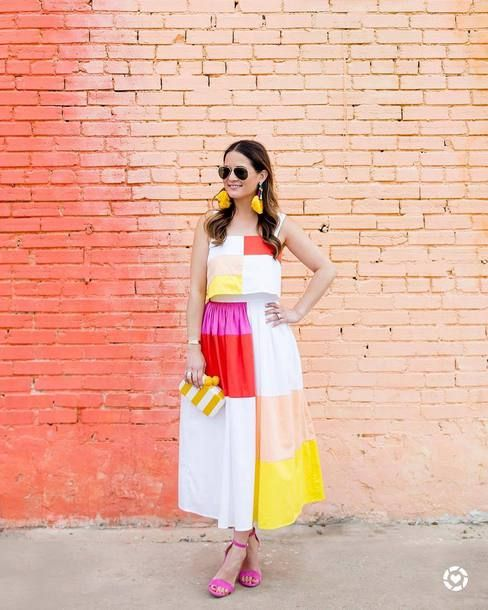 1cbc50216  250 Mara Hoffman Patchwork Midi Skirt Teamed With Matching  175 Patchwork  Cropped Cami At Anthropologie And White And Yellow Stripe Clutch Tumblr