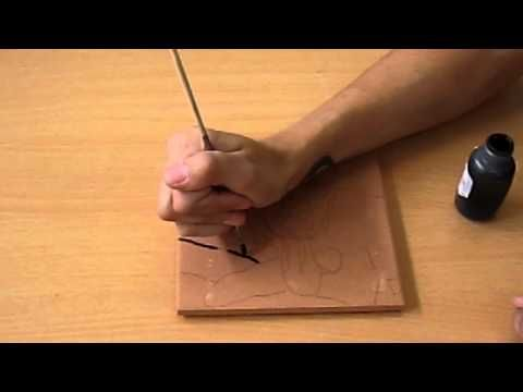 How to Paint a Ceramic Tile - YouTube. Uses black wax resist to ...
