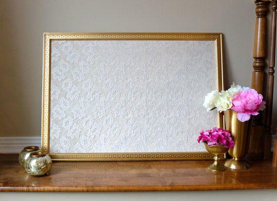 Beautiful Gold Framed Lace Corkboard Cork Board Wedding Pin Card Holder