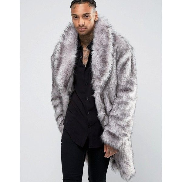 ASOS Faux Fur Overcoat ($175) ❤ liked on Polyvore featuring men's ...