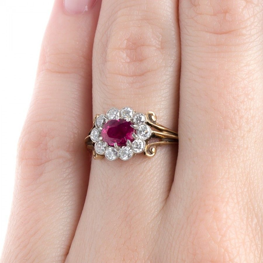 Natural Ruby Ring with Diamond Halo | Orchard Park | metalwork ...