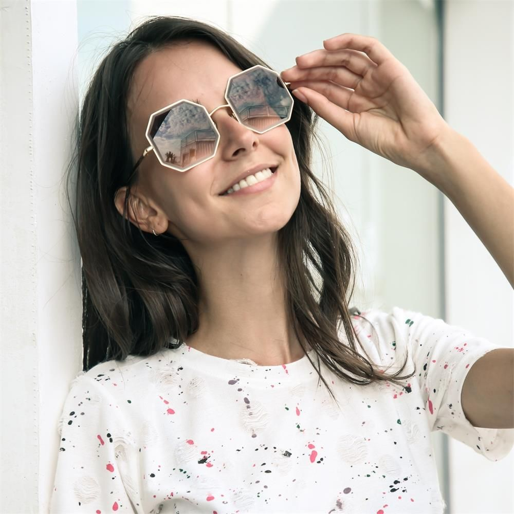 3cf1861381  7.99 Peekaboo gold metal octagonal sunglasses women 2019 brown square  vintage sun glasses for ladies uv400 metal frame  polygonsunglasses  new   gift