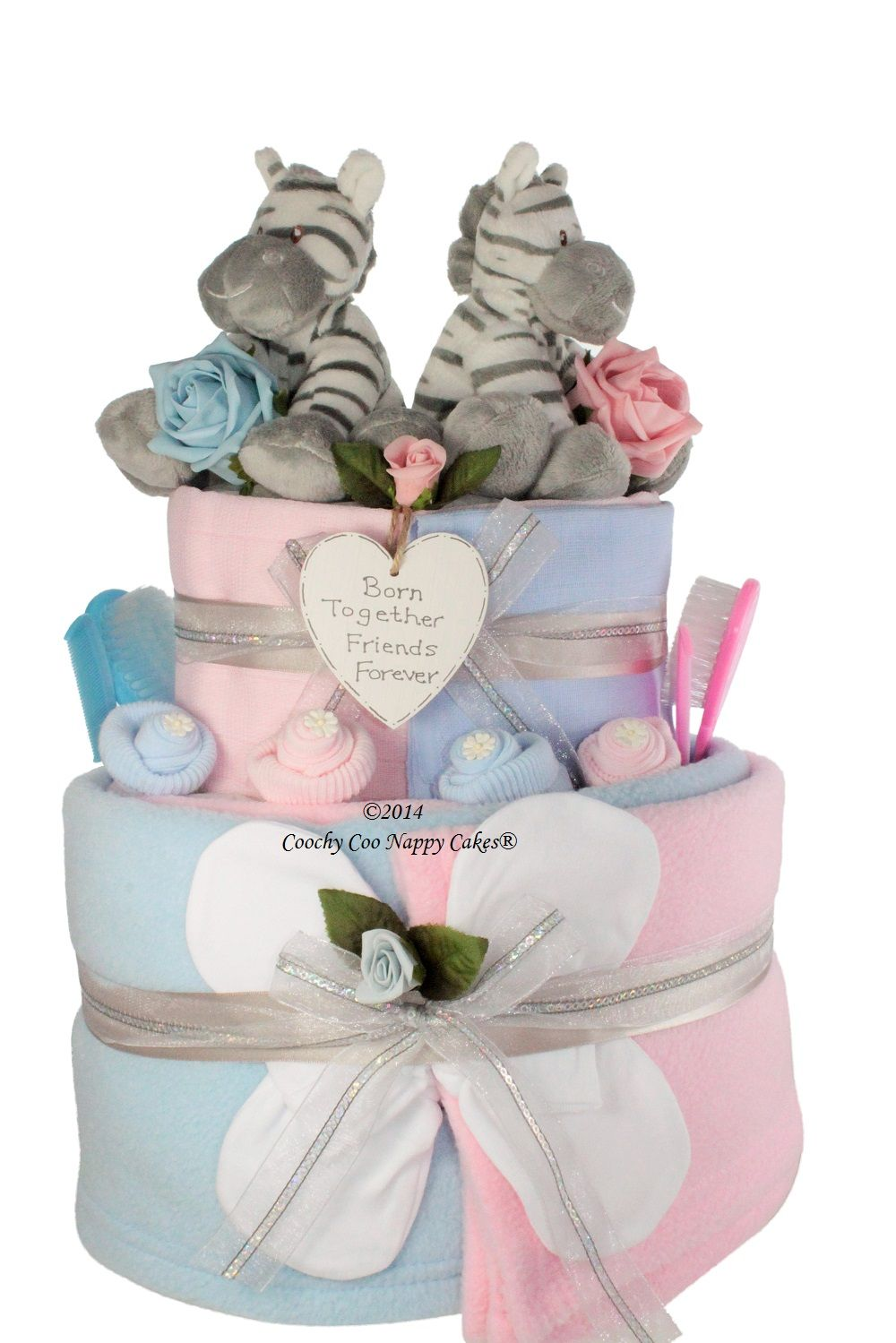Newborn baby gift for twin baby girl and boy nappy cake