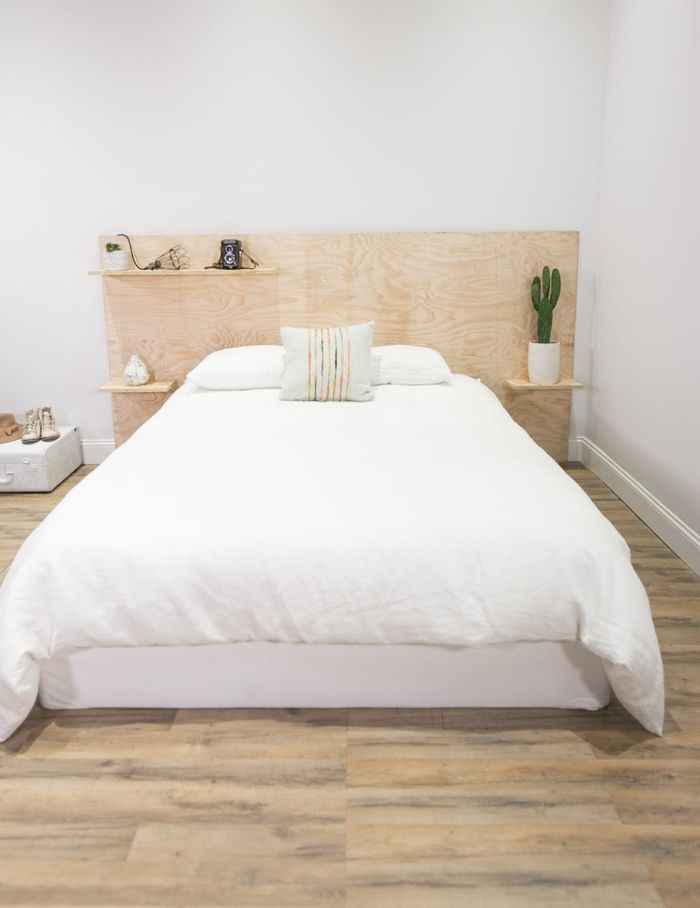 1001 id es pour fabriquer une t te de lit en bois originale diy plywood headboard. Black Bedroom Furniture Sets. Home Design Ideas