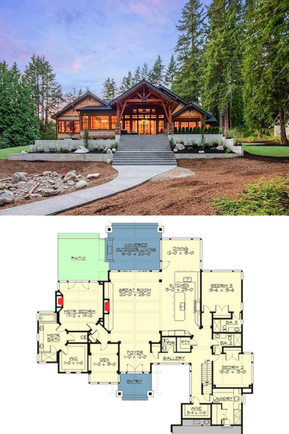 4 Bdrm Open Concept Mountain Style Home A Real Beauty Craftsman House Plans Rustic House Plans Lake House Plans