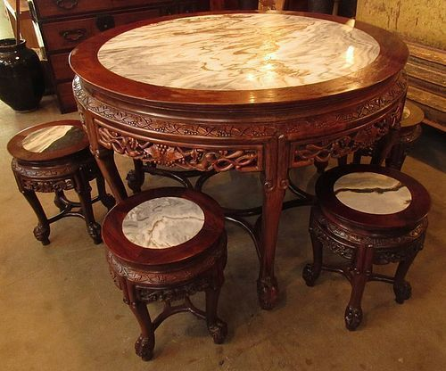 Chinese Round Marble Top Table And Stool Set In 2019