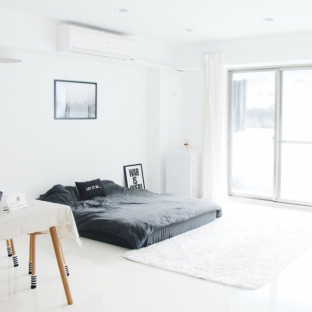 all white except floor bed.