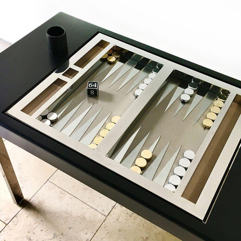 Italian Inspired Fliptop Backgammon Table Created By Talisman At 1stdibs Backgammon Table Modern Game Tables Backgammon
