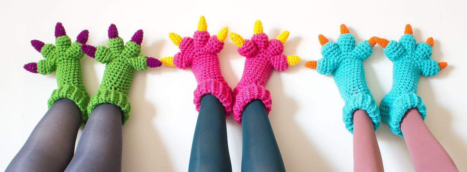 Monster slippers free beginner to intermediate crochet pattern monster slippers free beginner to intermediate crochet pattern bankloansurffo Choice Image