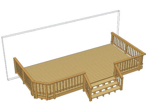 24 X 12 Deck W Wide Stairs At Menards Decks And Porches Deck Projects Swimming Pool Landscaping