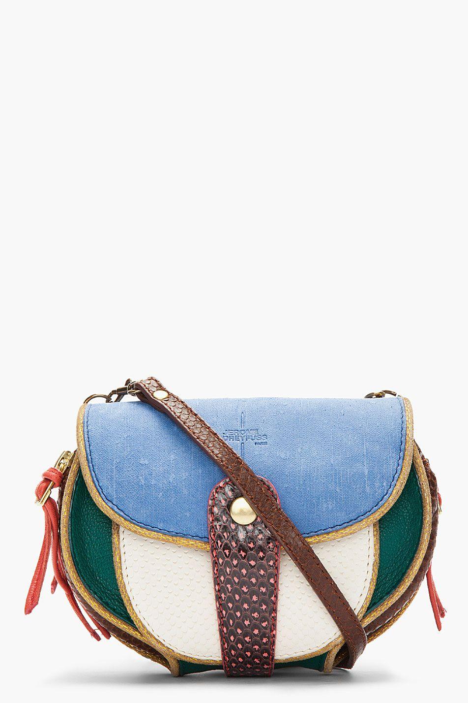 3527077fe572 JEROME DREYFUSS Mini Blue Suede   Snakeskin Momo Disco Bag