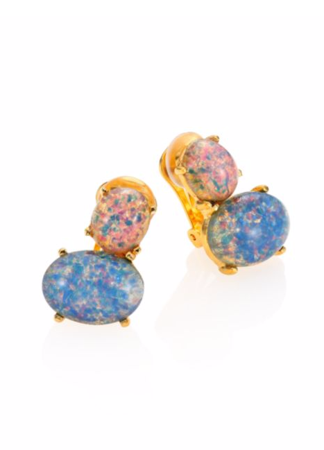 All The Opal Jewelry October-Borns Will Ever Need #refinery29  http://www.refinery29.com/opal-jewelry-october-birthstones-2016#slide-24  Kenneth Jay Lane Pink & Blue Opal Clip-on Earrings, $75 $60, available at Saks Fifth A...