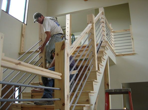 cheap woodworking home cable rail staircase diy stairs woodworking projects interior. Black Bedroom Furniture Sets. Home Design Ideas