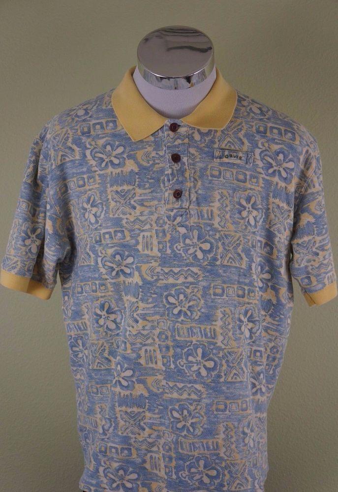 081827ce63d7 Orvis Shirt Men s Short Sleeve Hawaiian Polo Cotton Summer Floral Size  Medium  Orvis  PoloRugby