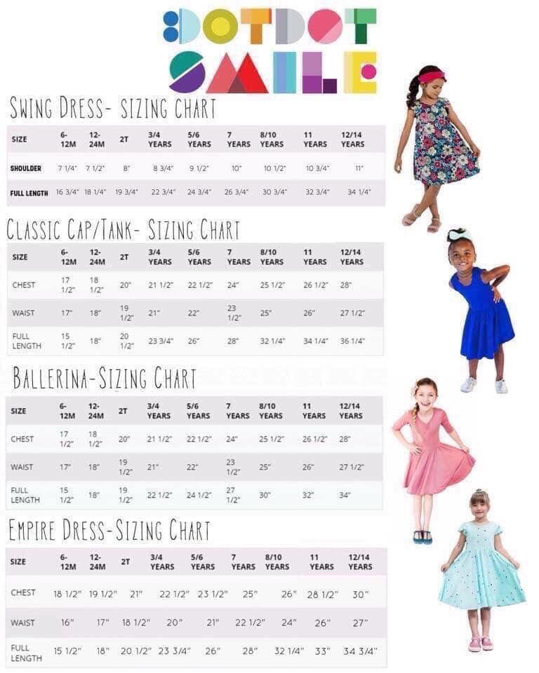Dotdotsmile sizing chart dotdotsmile dresses