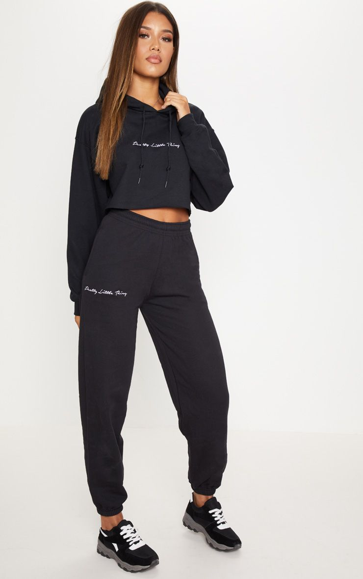 The Black Embroidered Prettylittlething Jogger All About That New Head Online Today To Shop This Season S M Joggers Womens Womens Joggers Sweatpants Fashion