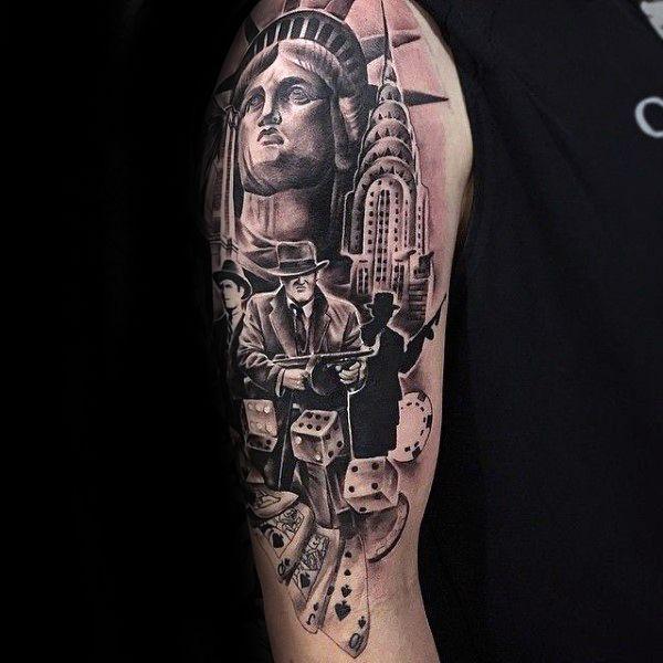 542e5342e New York City Themed Male Gangster Arm Tattoo Design Inspiration